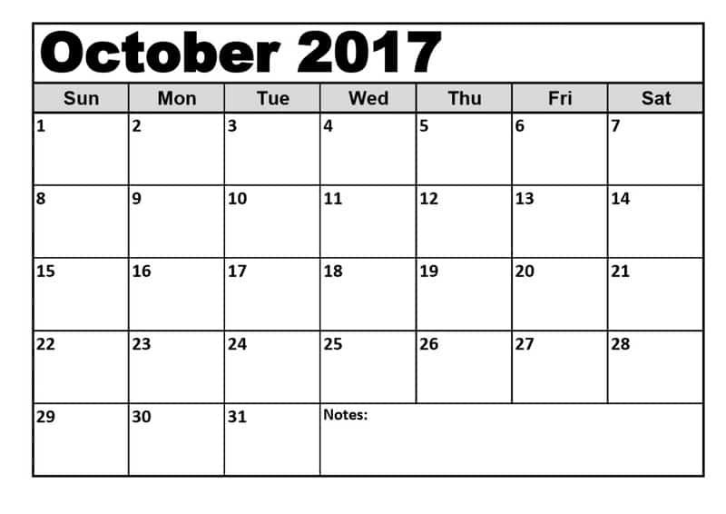 Printable 2017 October Calendar