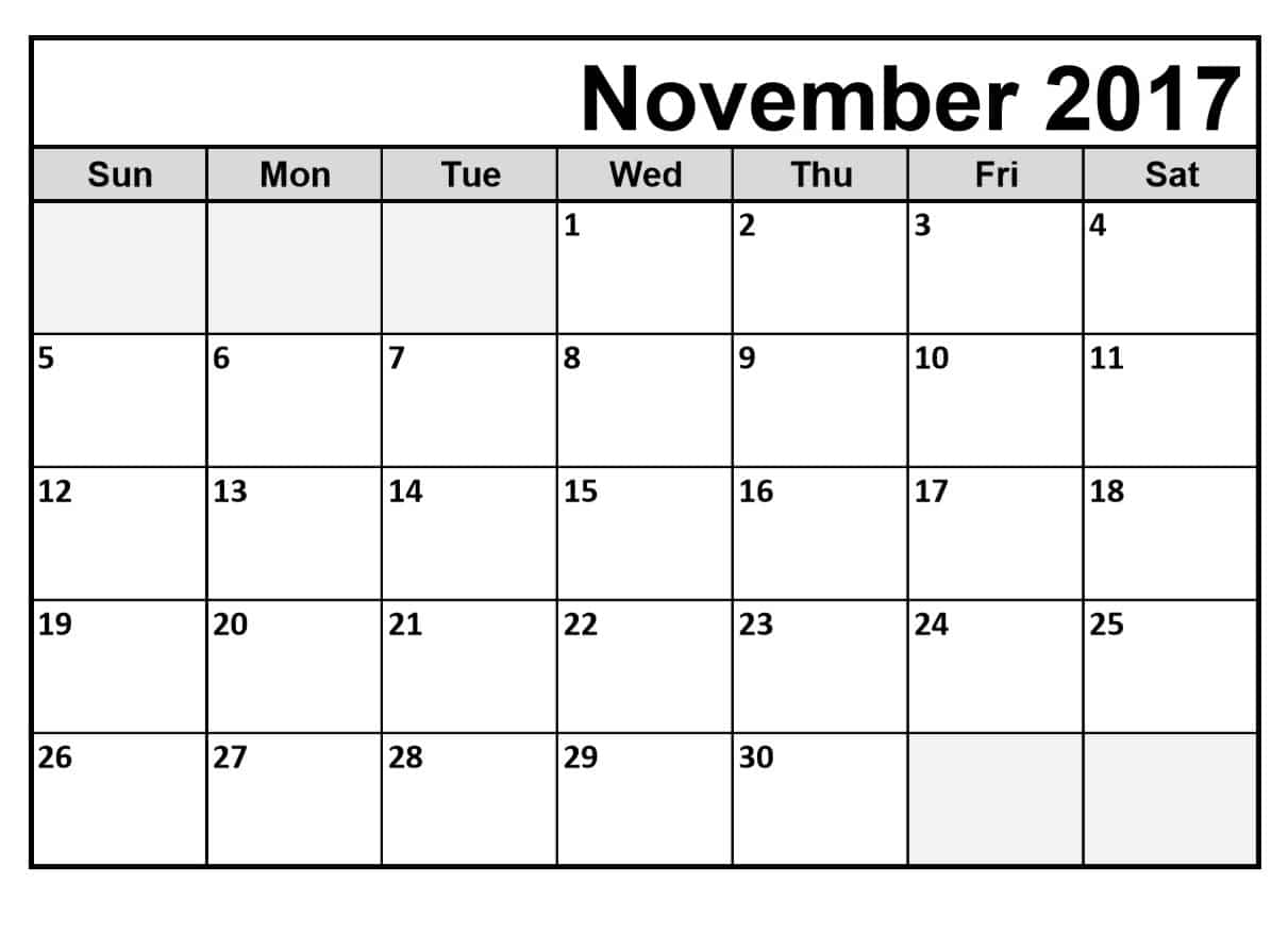 picture about Blank November Calendar Printable titled November 2017 Calendar Editable Quotation Illustrations or photos High definition Free of charge