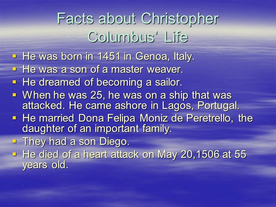 christopher columbus Life