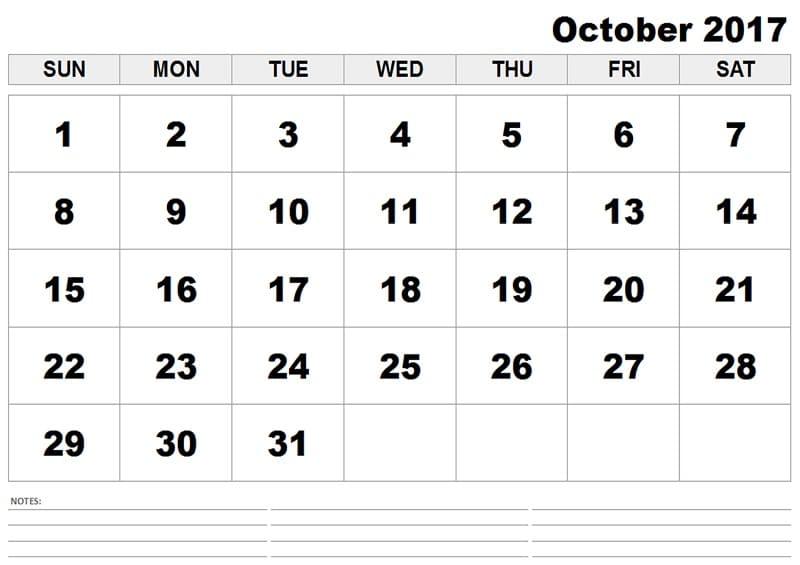 October 2017 Calendar for print