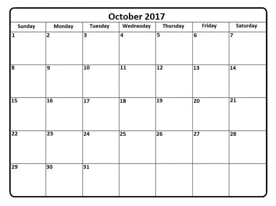 Printable October 2017 Blank Calendar