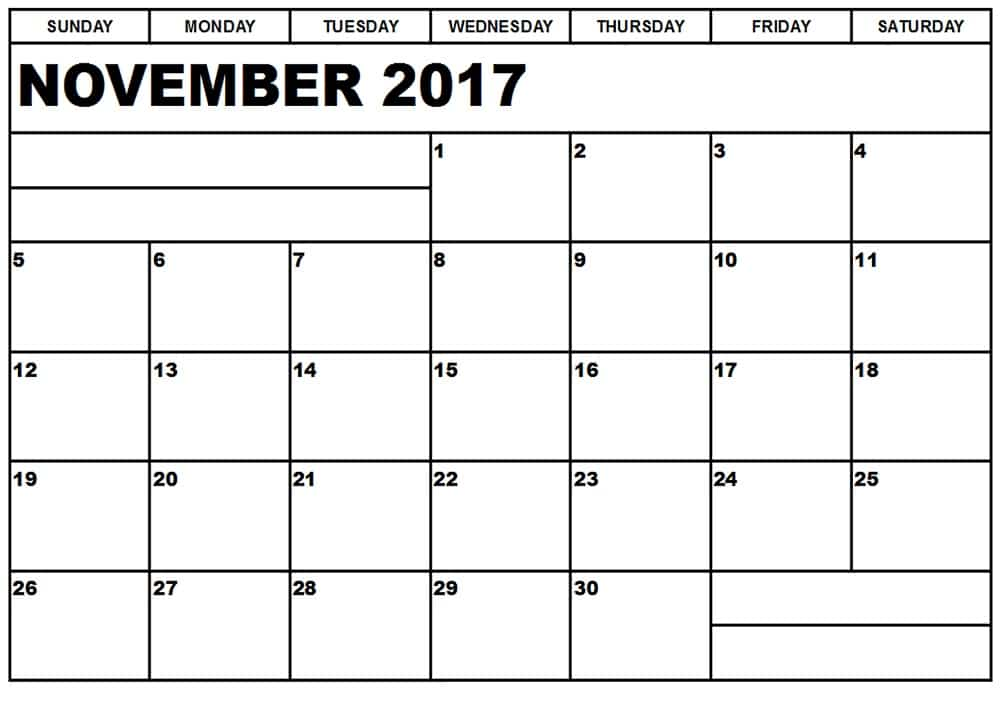 2017 November Calendar Download