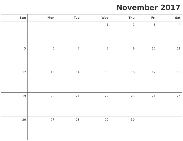 2017 November Calendar Excel