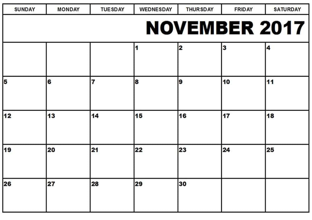 2017 November Calendar For Print