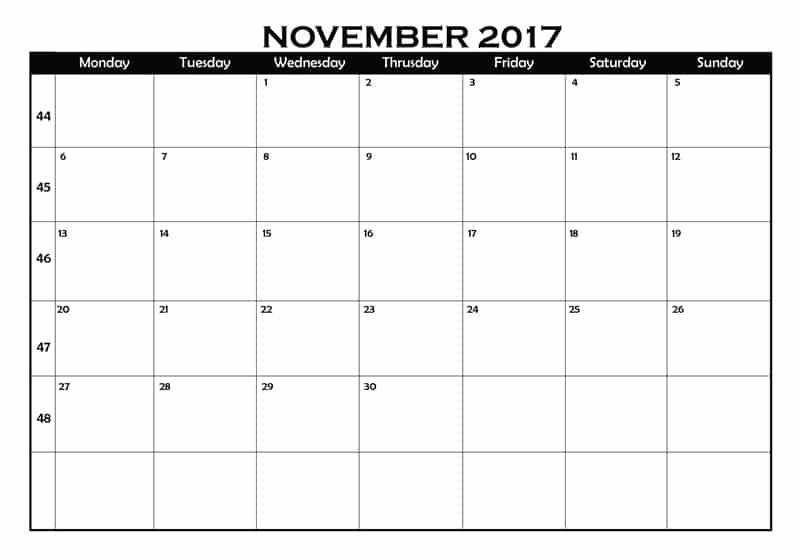 2017 November Calendar Printable Template With Holidays