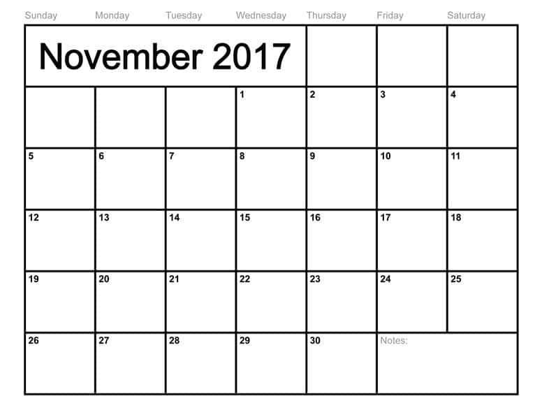 2017 November Calendar Printable Template