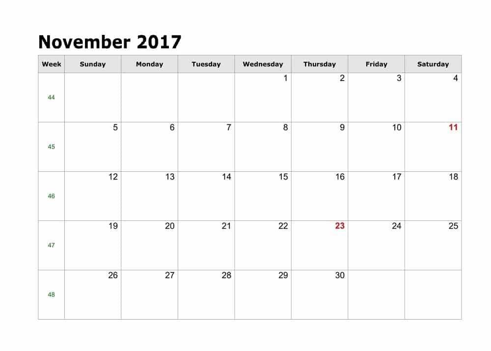 2017 November Calendar Pritable
