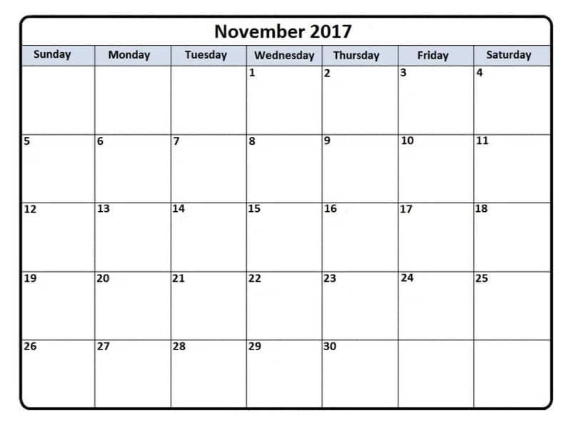 2017 November Calendar Template