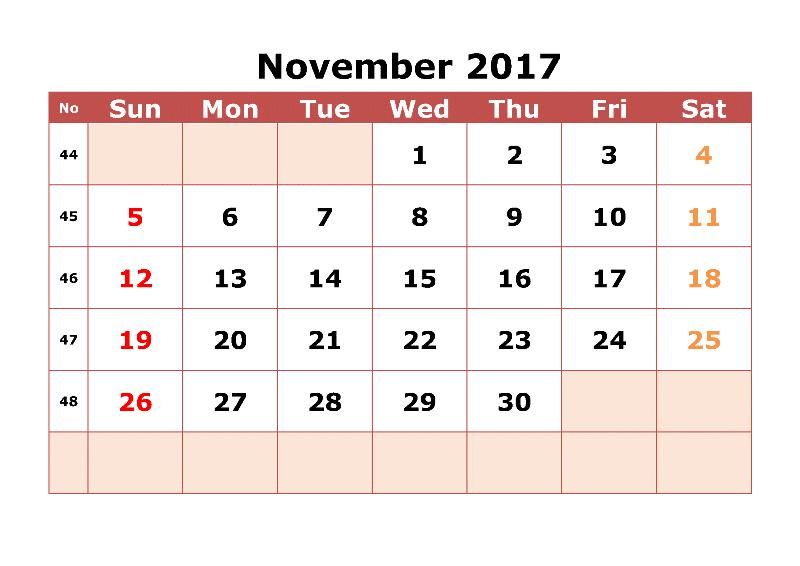 2017 November Calendar With Festivals