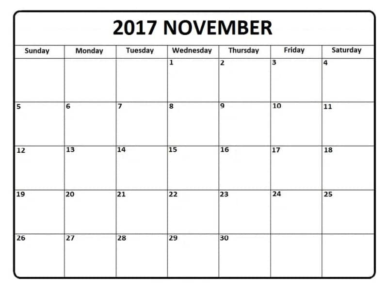 2017 November Monthly Calendar Template