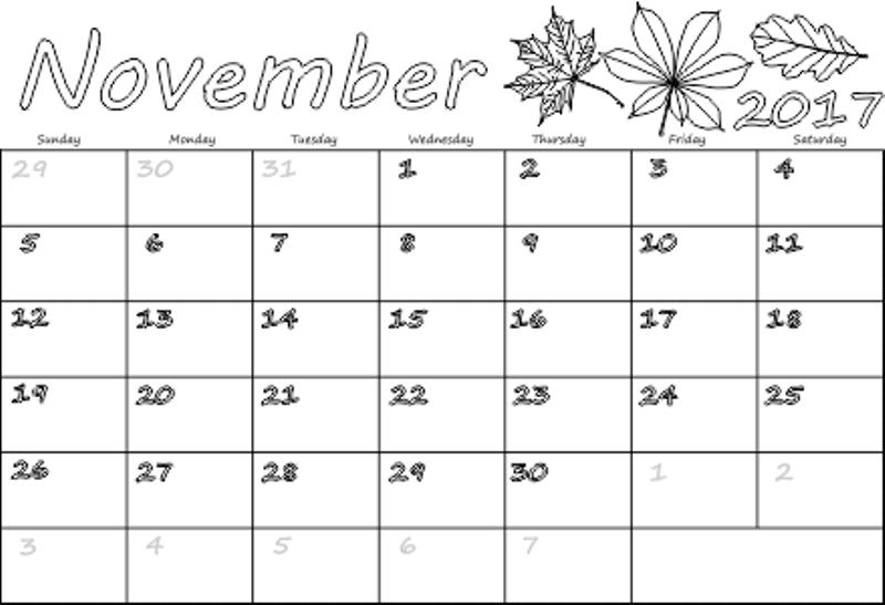 Blank Calendar 2017 November Excel