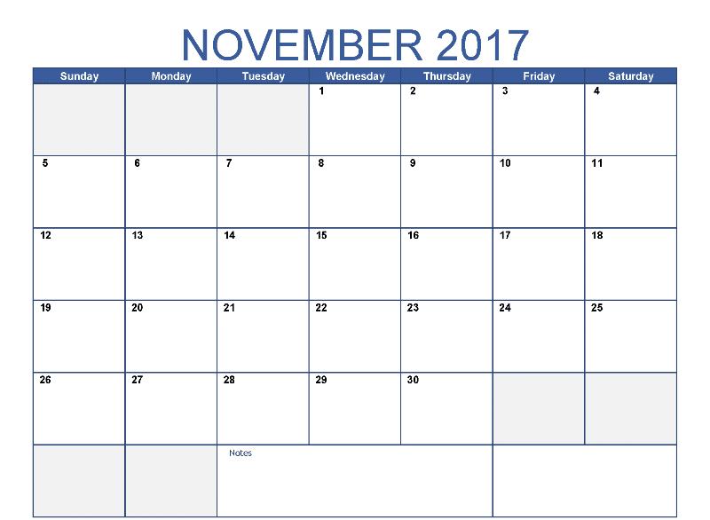 Blank Calendar 2017 November Printable Template With Holidays