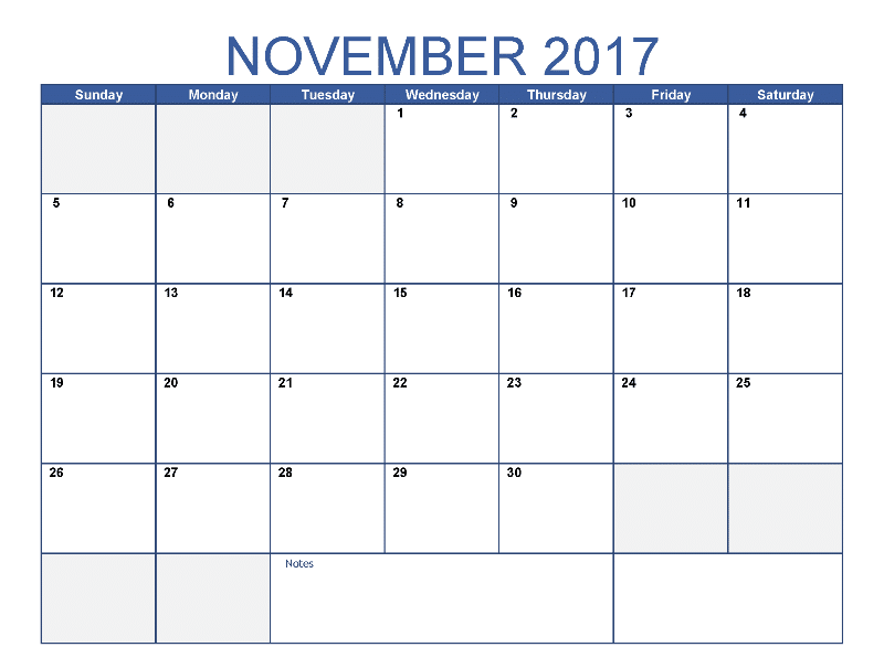 Blank Calendar 2017 November Printable Template With Holidays