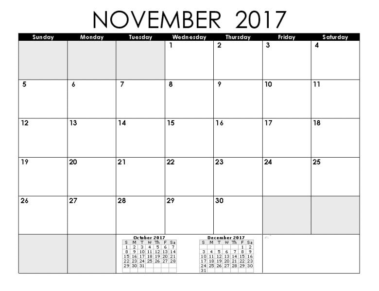 Blank Calendar 2017 November Word