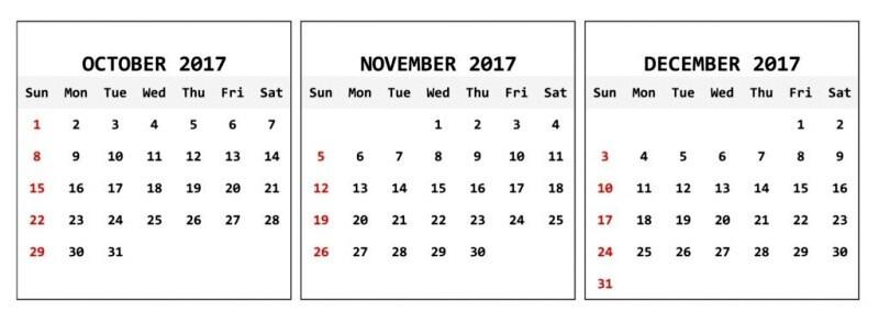 Blank November December 2017 Calendar