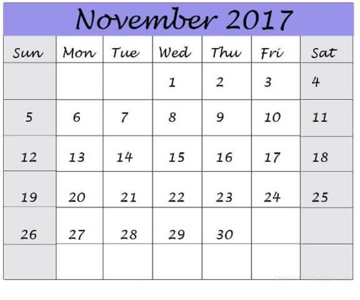 Calendar 2017 November Printable Template