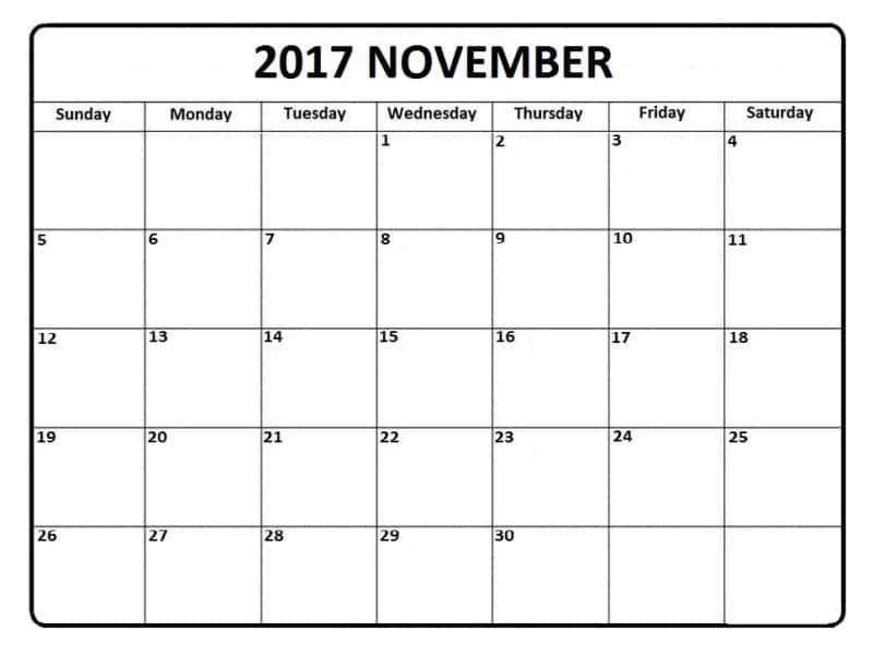 Calendar 2017 November