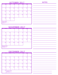 Calendar 2017 November December