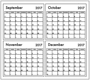 Calendar 2017 November December Printable