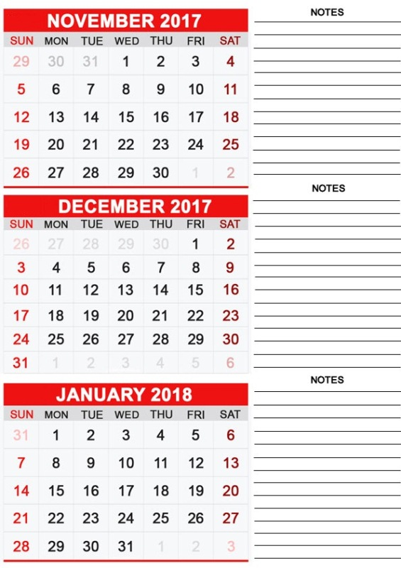 Calendar 2017 November December Template