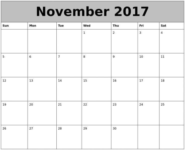 Calendar 2017 November Word Printable