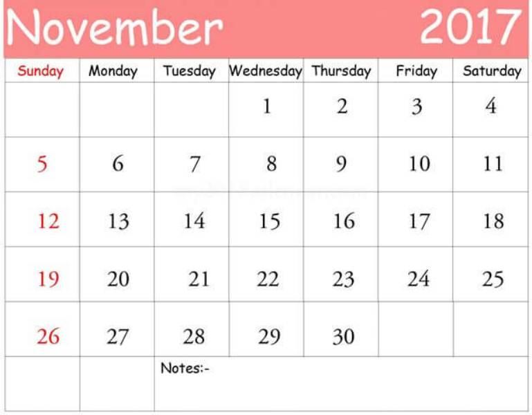 Calendar 2017 November Template