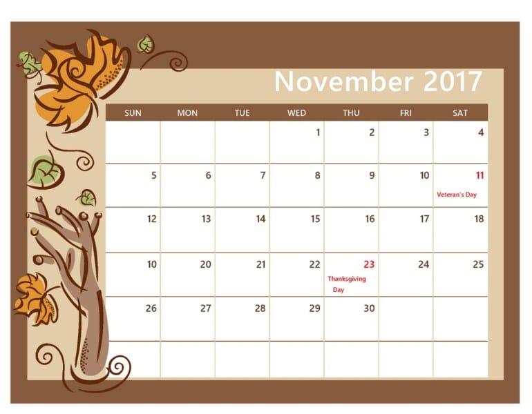 Calendar 2017 November With Festivals