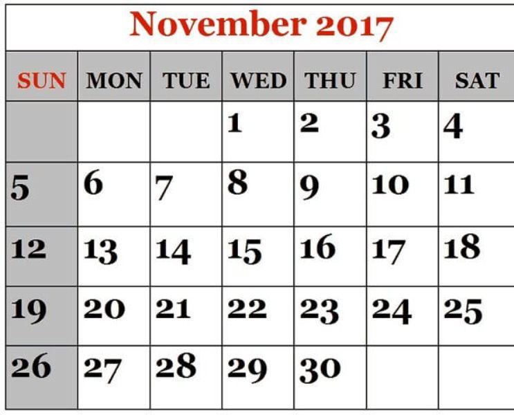 Calendar November 2017 Printable Excel