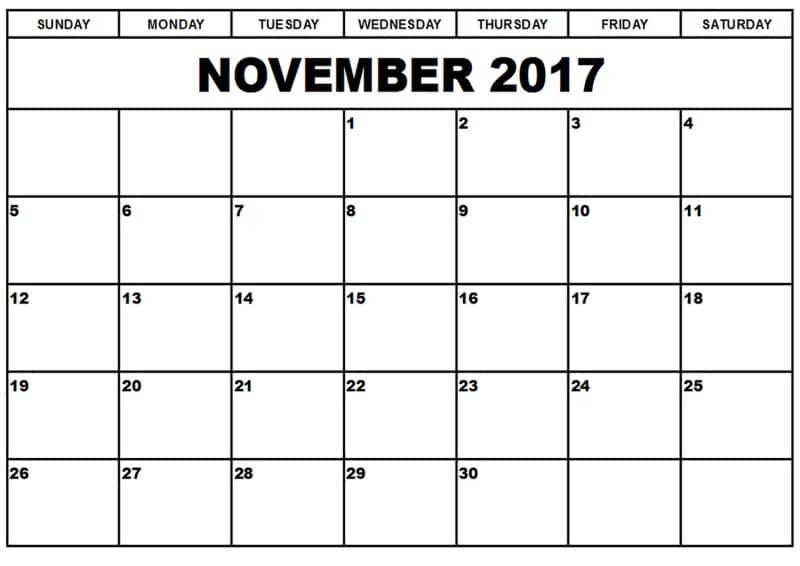 Calendar November 2017 Printable Template