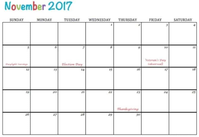 Calendar November 2017 Template