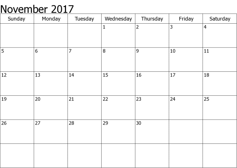 Calendar November 2017 With Holidays