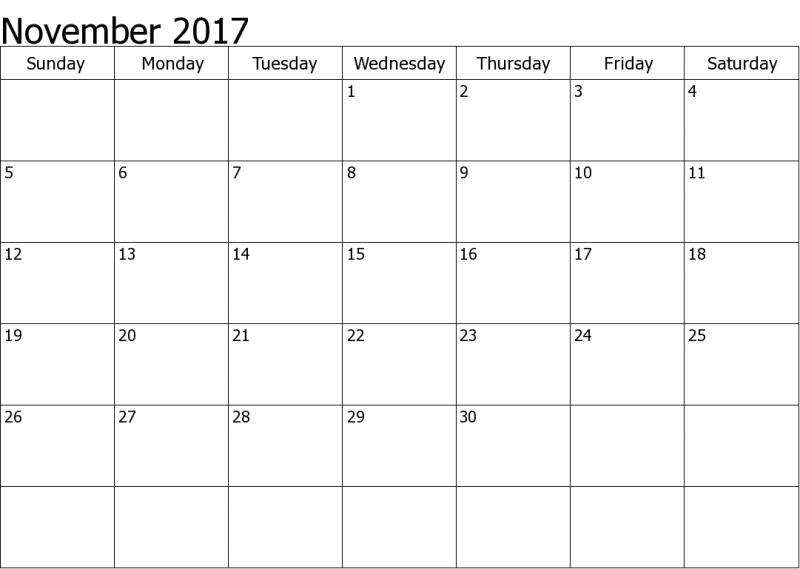 Calendar November 2017 With Holidays