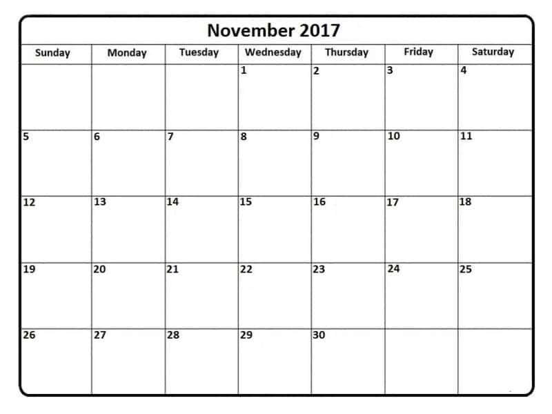 Calendar November 2017