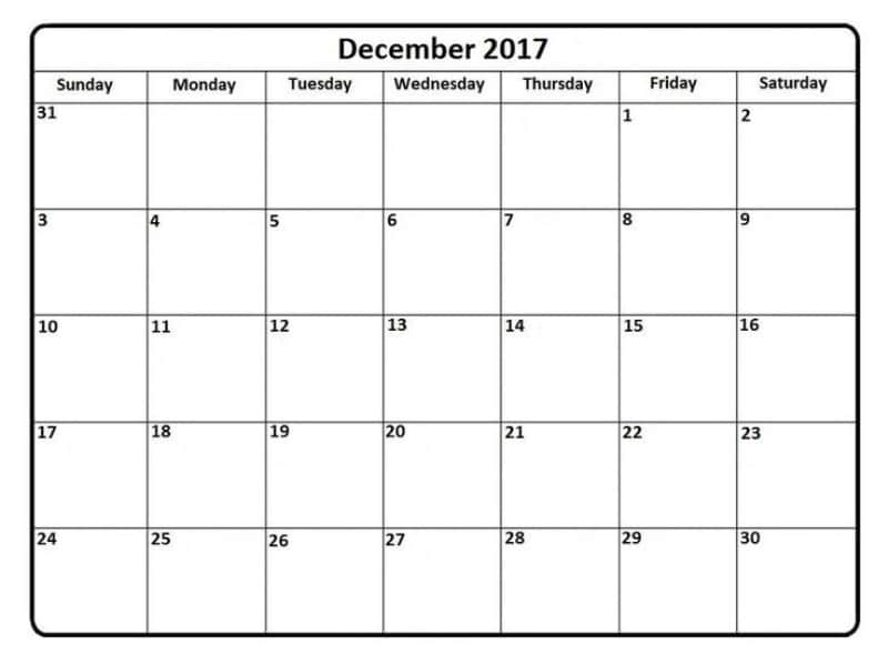 December 2017 Calendar Free Monthly Template | Download Free Images