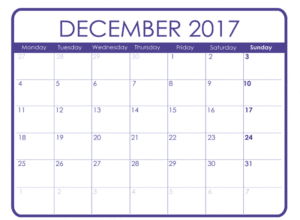 December Calendar 2017 Monthly Template