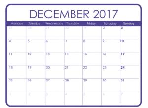 December Calendar 2017 Monthly Template