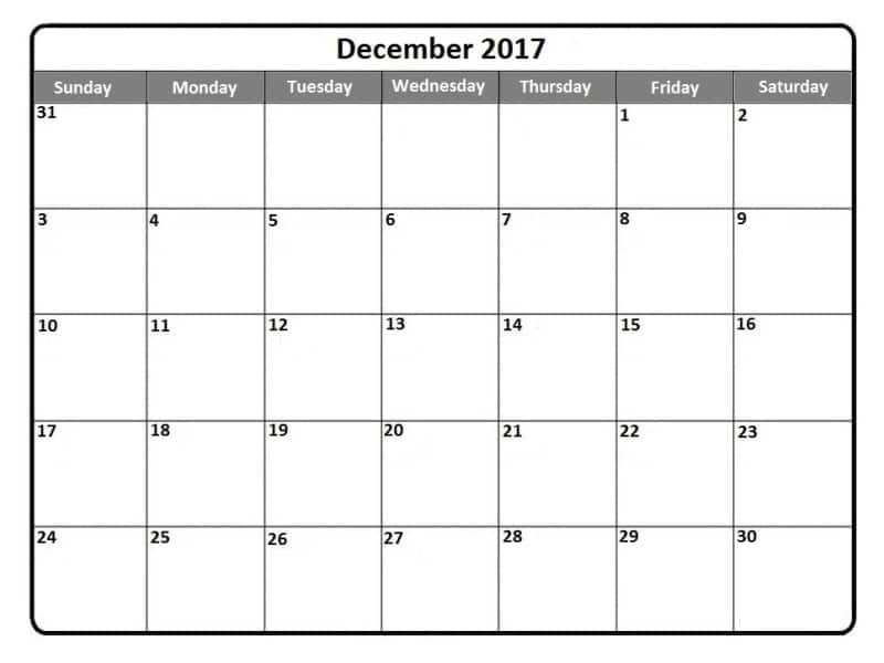 December Monthly Calendar Template