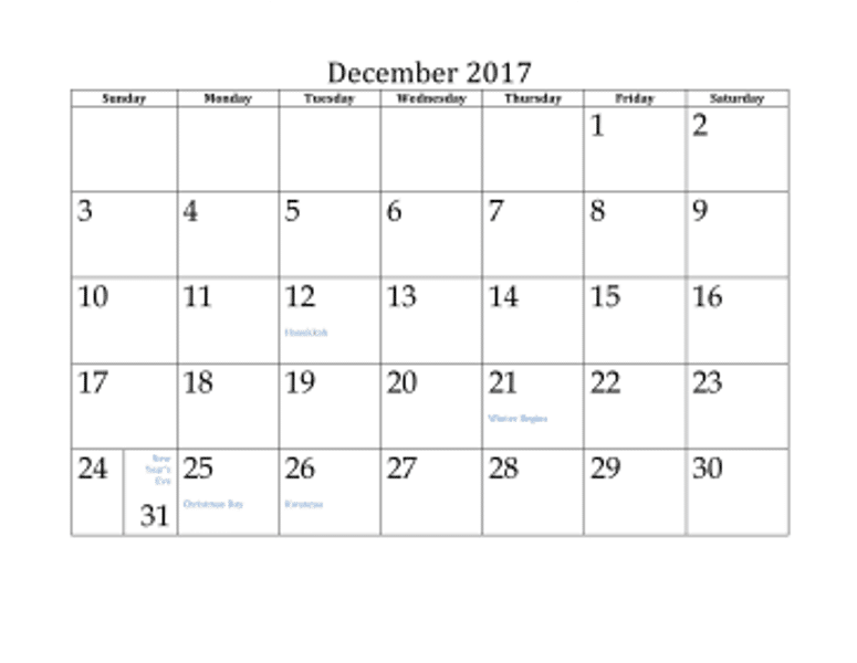 Indian Calendar 2017 December