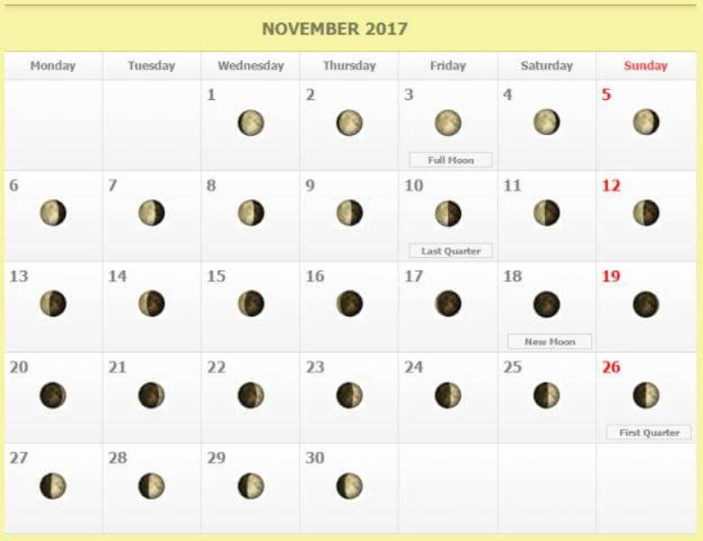 Moon Phases November Calendar 2017 Quote Images Hd Free