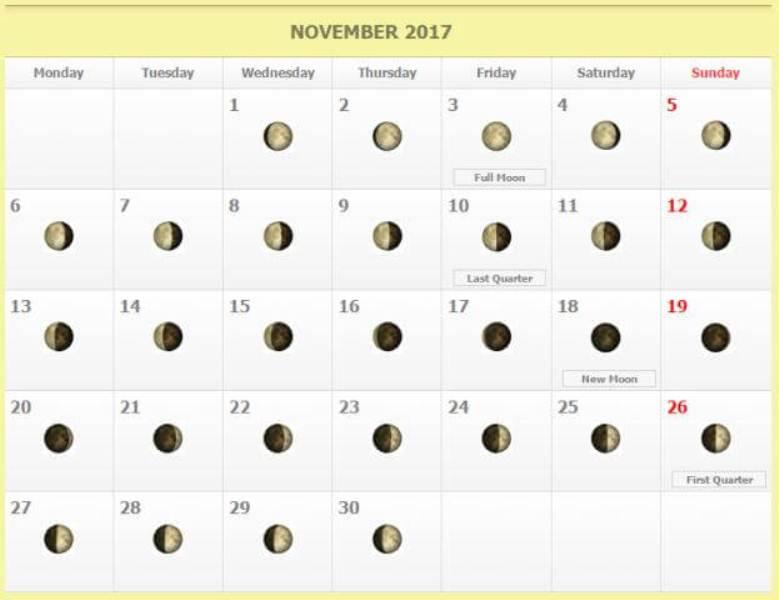 Lunar Calendar November 2017