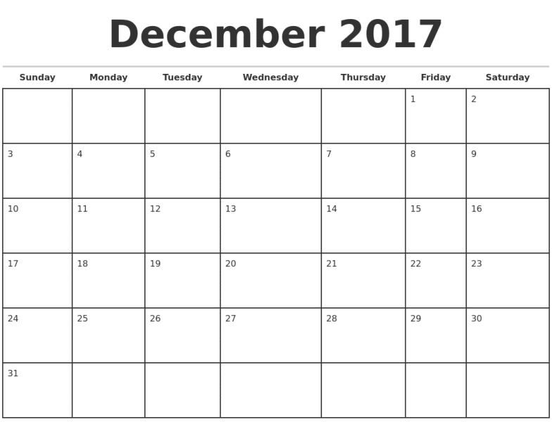 Monthly December 2017 Calendar Template