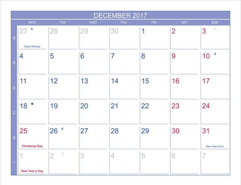 Moon Phases 2017 December Calendar