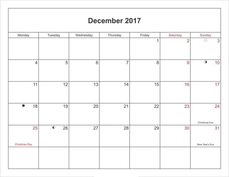 Moon Phases Calendar 2017