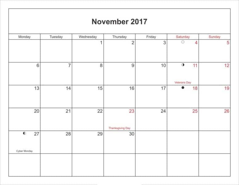 Moon Phases November Calendar 2017