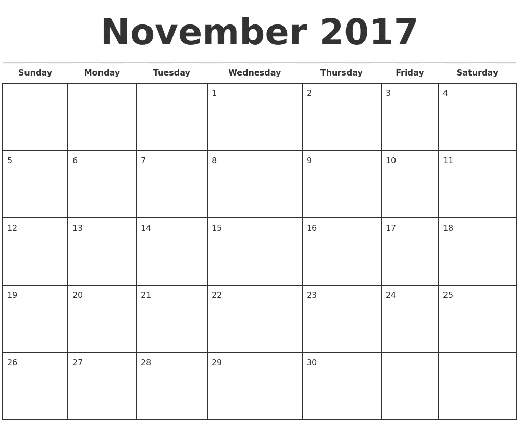 calendar november 2017 printable