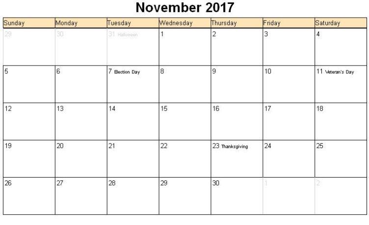 November 2017 Calendar Images