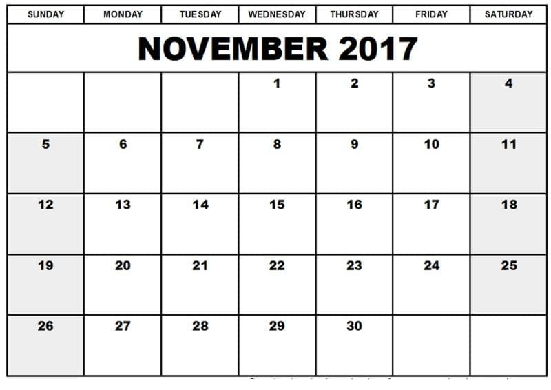 November 2017 Calendar Template
