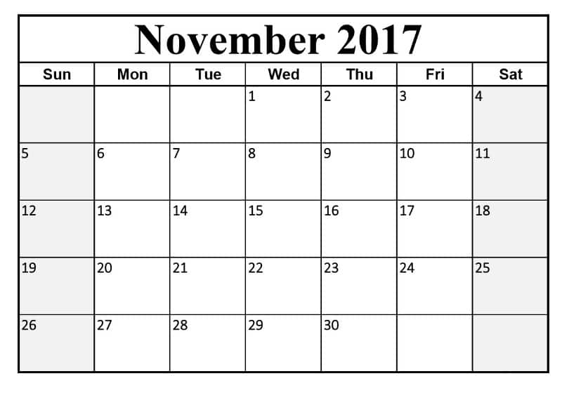 November 2017 Calendar With Holidays