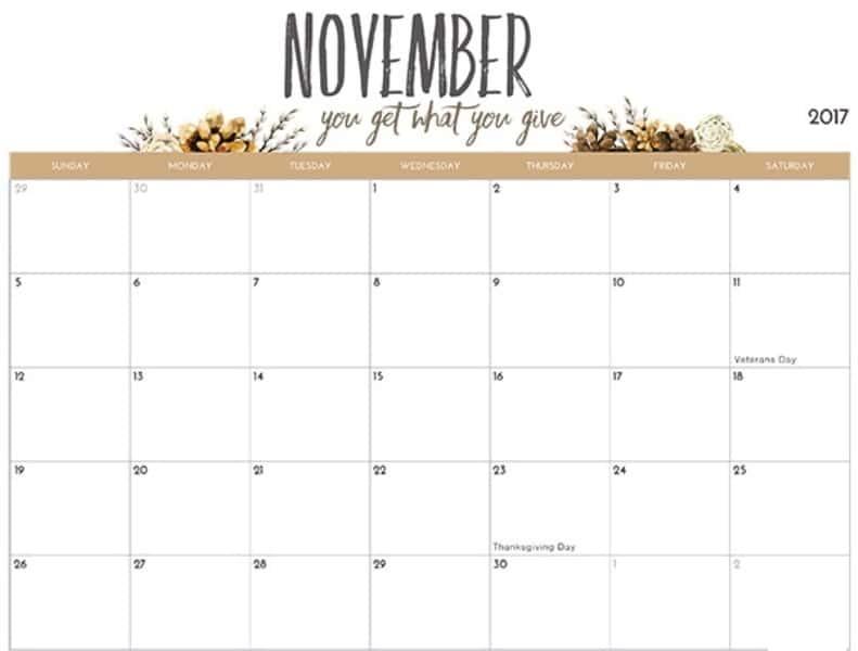 November 2017 Calendar Word