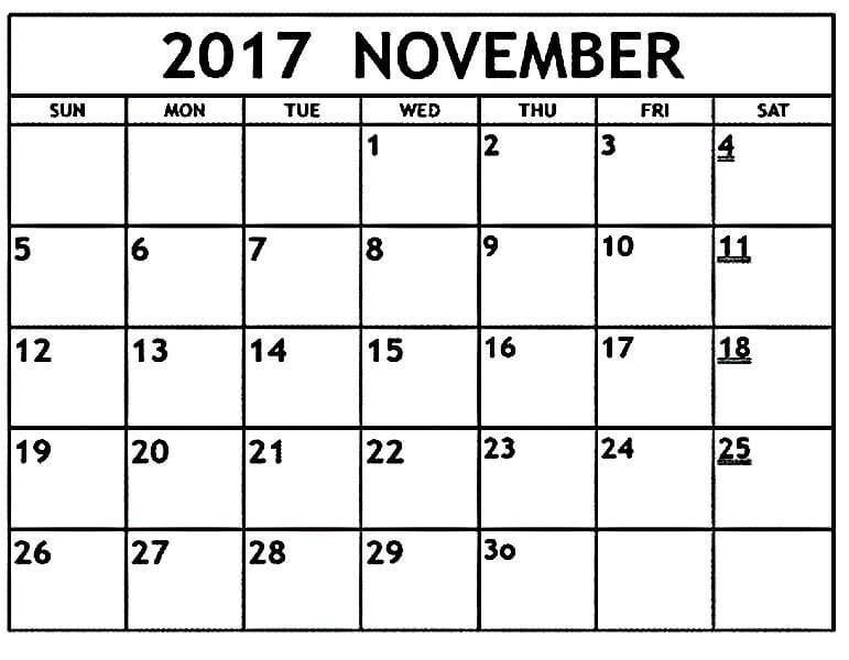 November Calendar 2017 Printable